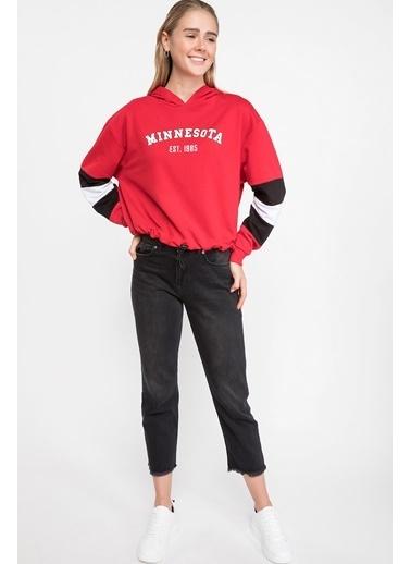 DeFacto Kapşonlu Baskılı Sweatshirt Kırmızı